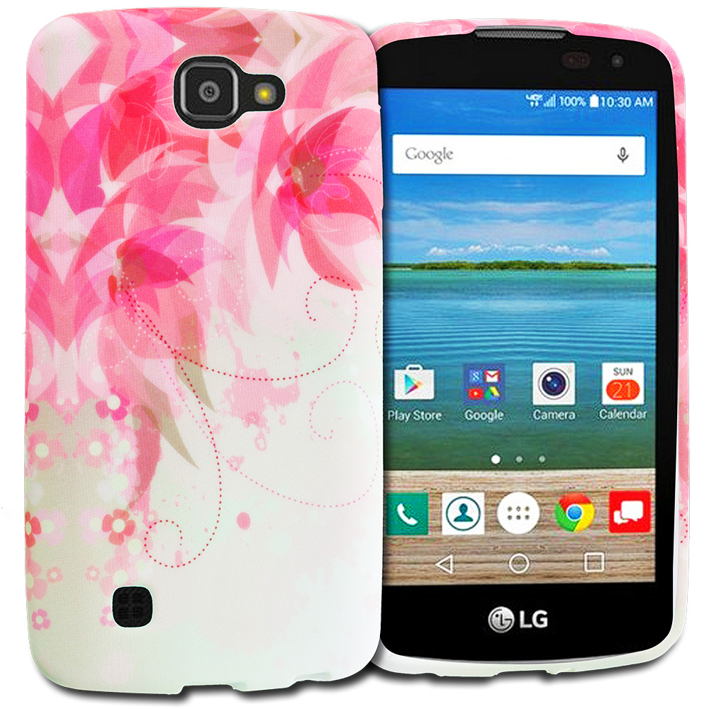 LG Spree Optimus Zone 3 VS425 K4 Flower With Red Leaf TPU Design Soft Rubber Case Cover