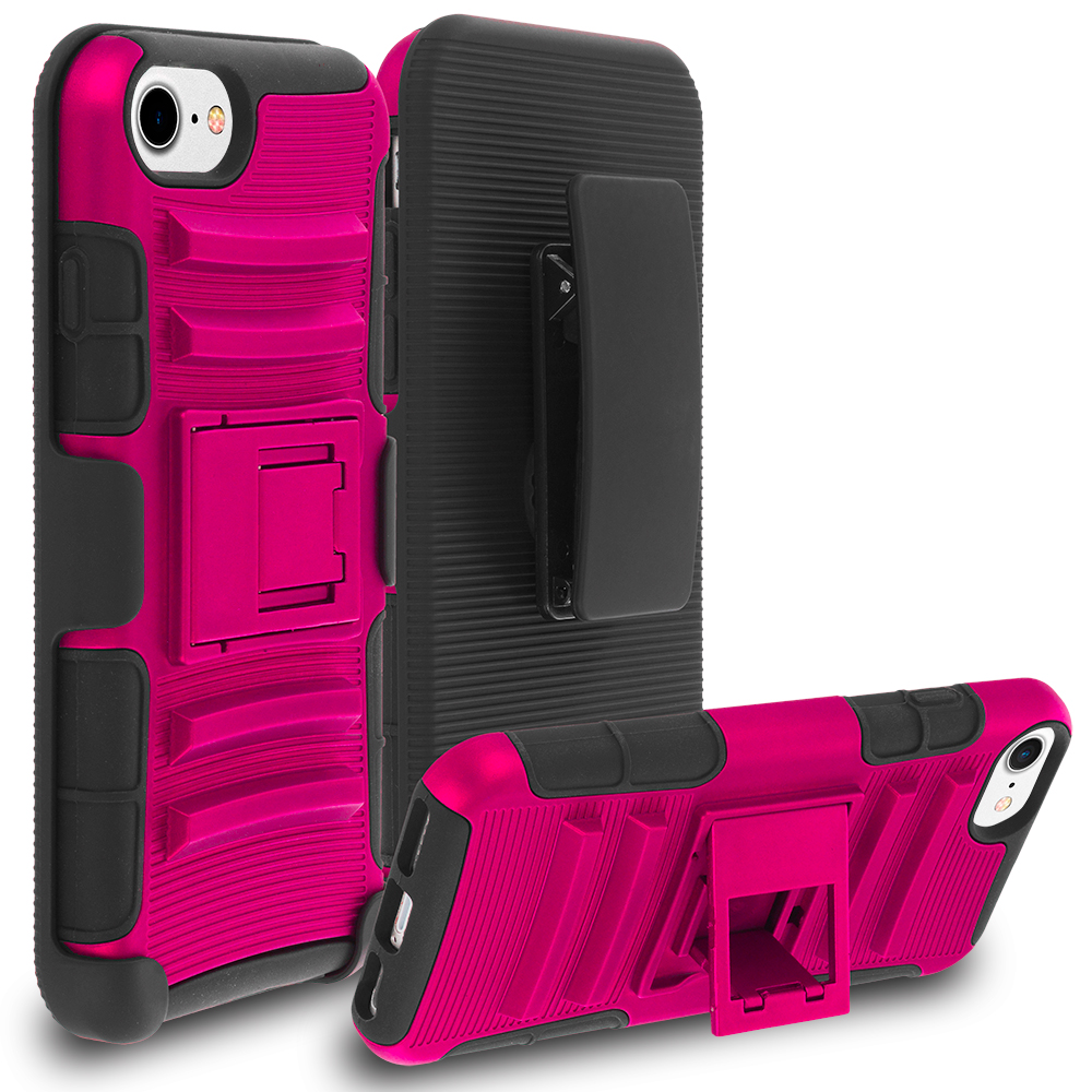 Apple iPhone 7 Hot Pink Hybrid Heavy Duty Rugged Case Cover with Belt Clip Holster