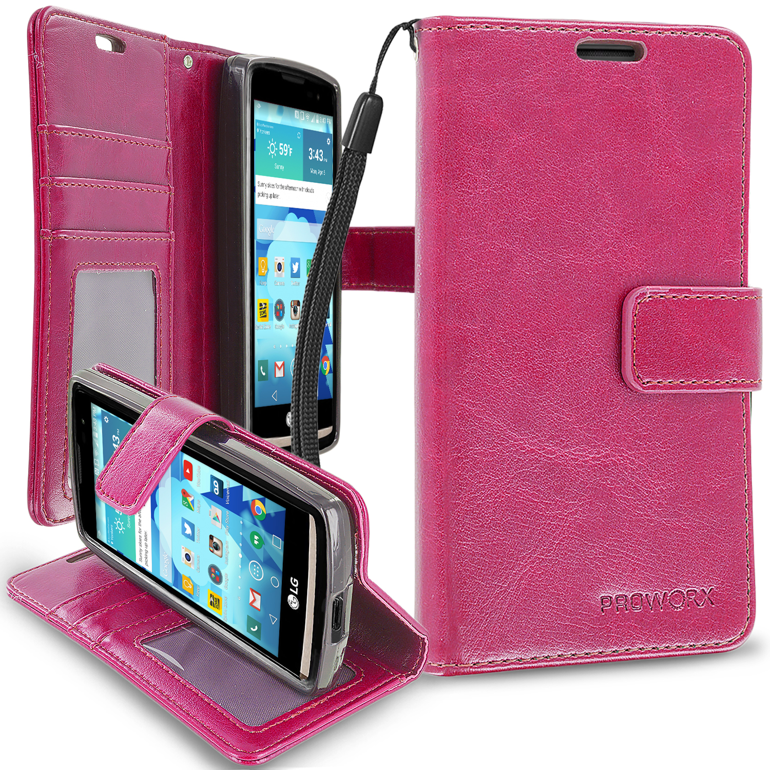 LG Tribute 2 Leon Power Destiny Hot Pink ProWorx Wallet Case Luxury PU Leather Case Cover With Card Slots & Stand