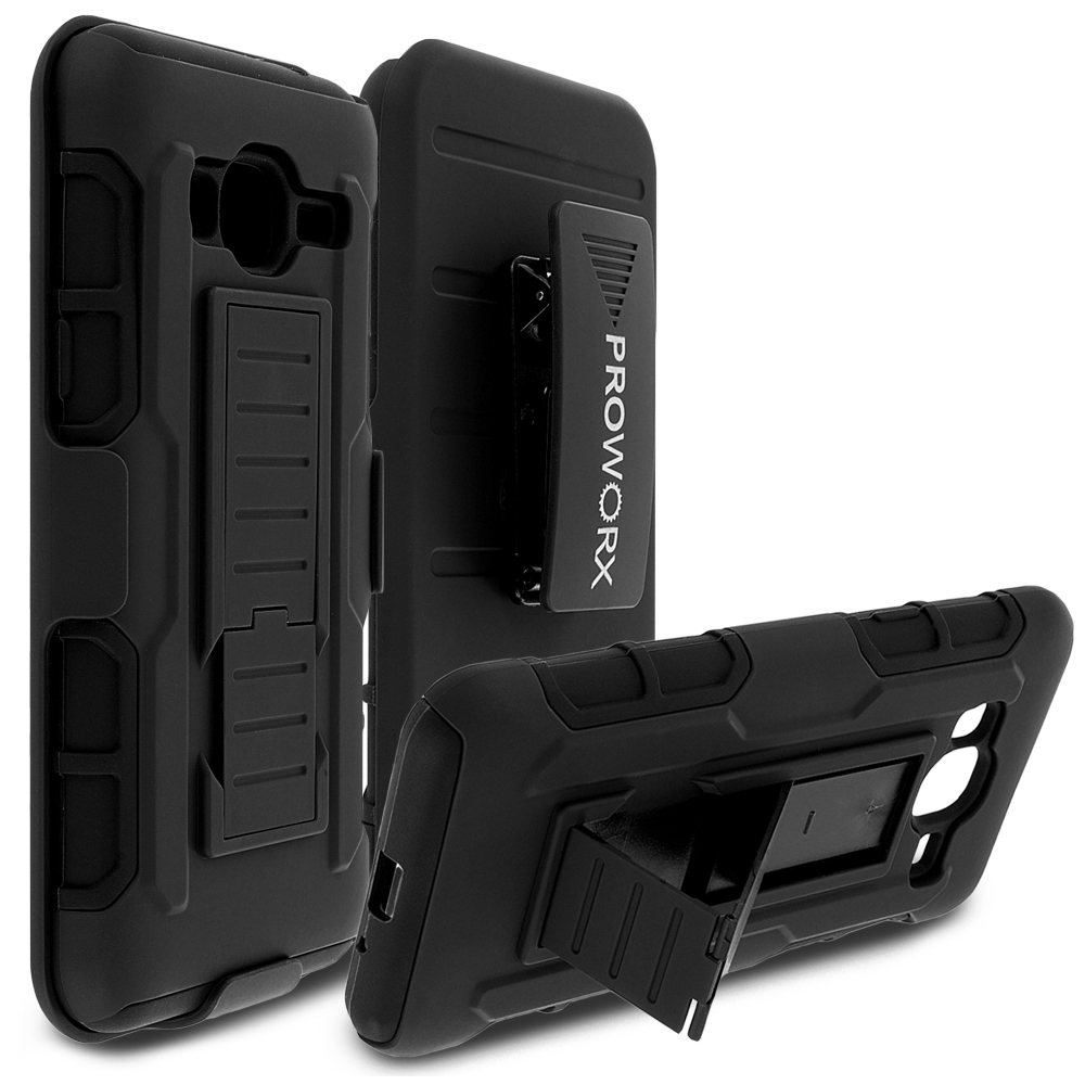 Samsung Galaxy J3 2016 Amp Prime Express Prime Black ProWorx Heavy Duty Shock Absorption Armor Defender Holster Case Cover With Belt Clip