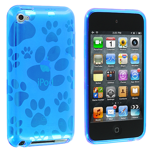 Apple iPod Touch 4th Generation Blue Dog Paw TPU Rubber Skin Case Cover