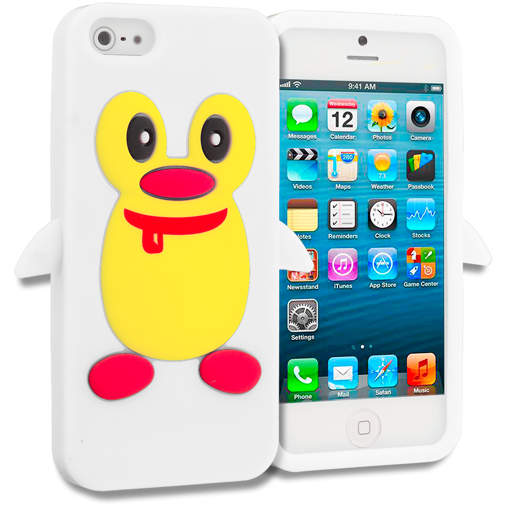 Apple iPhone 5/5S/SE White Penguin Silicone Design Soft Skin Case Cover