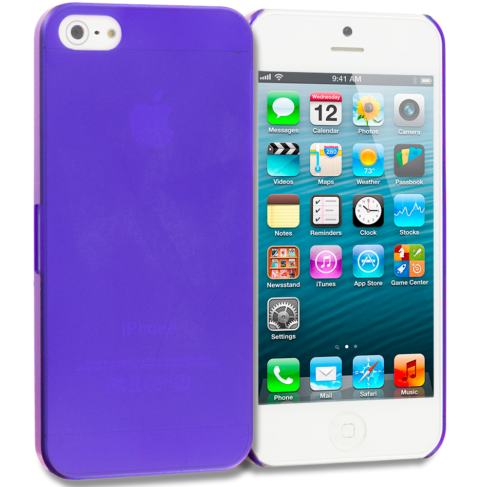 Apple iPhone 5/5S/SE Combo Pack : Purple 0.3mm Crystal Hard Back Cover Case : Color Purple 0.3mm