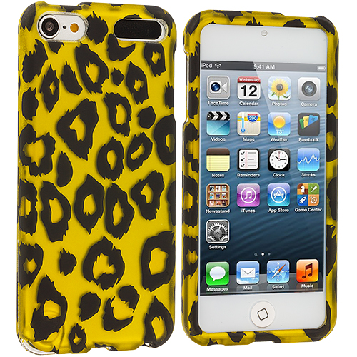 Apple iPod Touch 5th 6th Generation 3 in 1 Combo Bundle Pack - Leopard / Purple Zebra Hard Rubberized Design Case Cover : Color Black Leopard on Golden