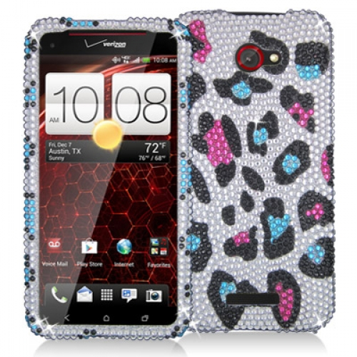 HTC Droid DNA Colorful Leopard Bling Rhinestone Case Cover