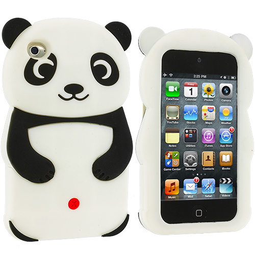 Apple iPod Touch 4th Generation Black Panda Silicone Design Soft Skin Case Cover