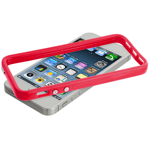 Apple iPhone 5/5S/SE Combo Pack : Solid Red TPU Bumper with Metal Buttons : Color Solid Red