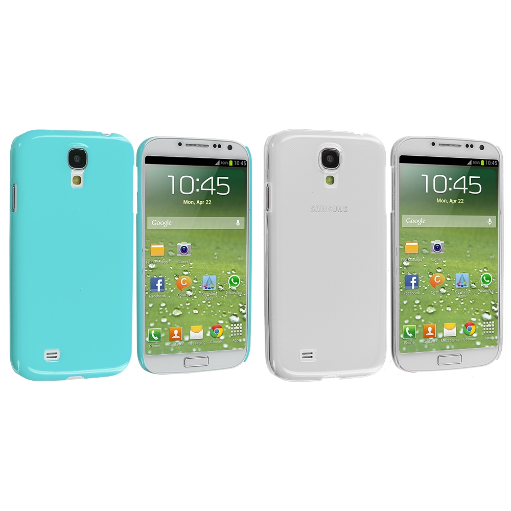 Samsung Galaxy S4 2 in 1 Combo Bundle Pack - Clear Baby Blue Crystal Hard Back Cover Case