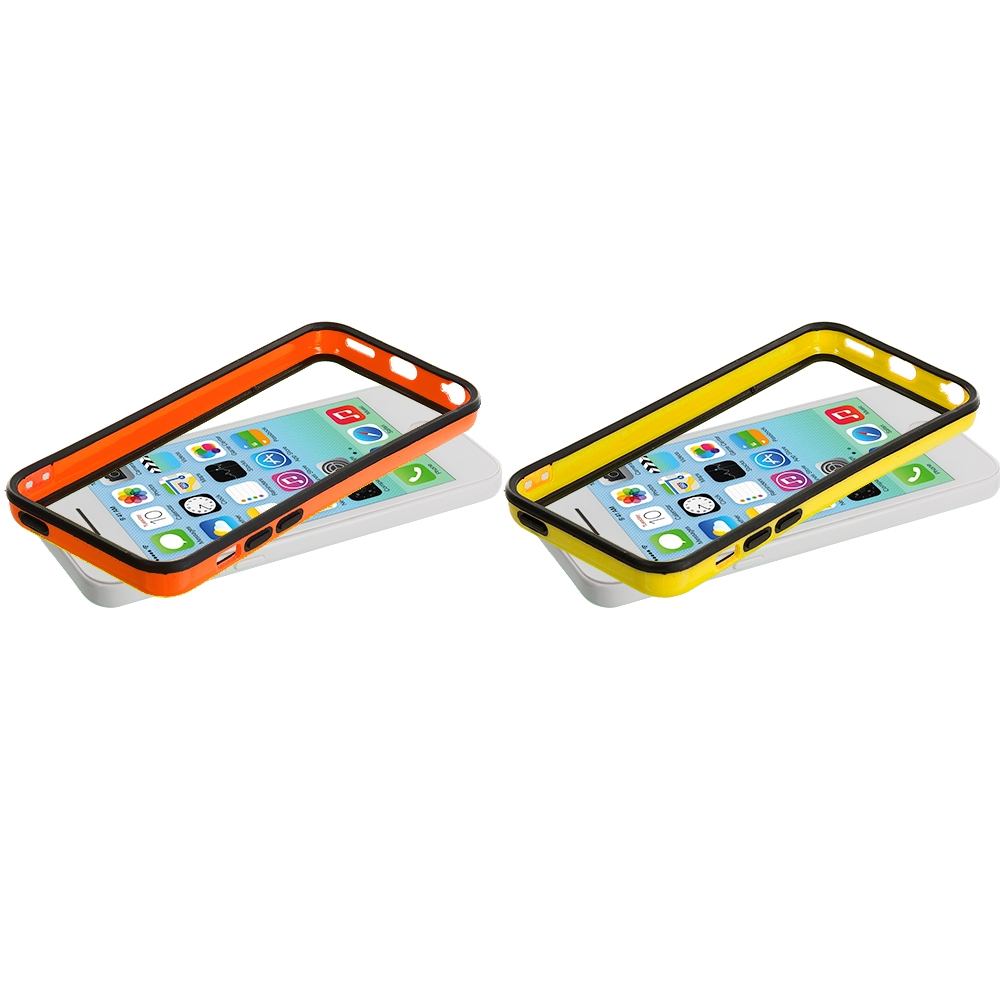 Apple iPhone 5C 2 in 1 Combo Bundle Pack - Yellow / Orange TPU Bumper with Metal Buttons
