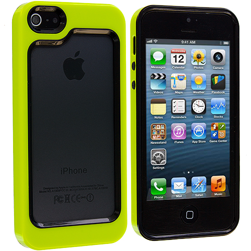 Apple iPhone 5 Combo Pack : Black / Neon Green Hybrid TPU Bumper Case Cover : Color Black / Neon Green