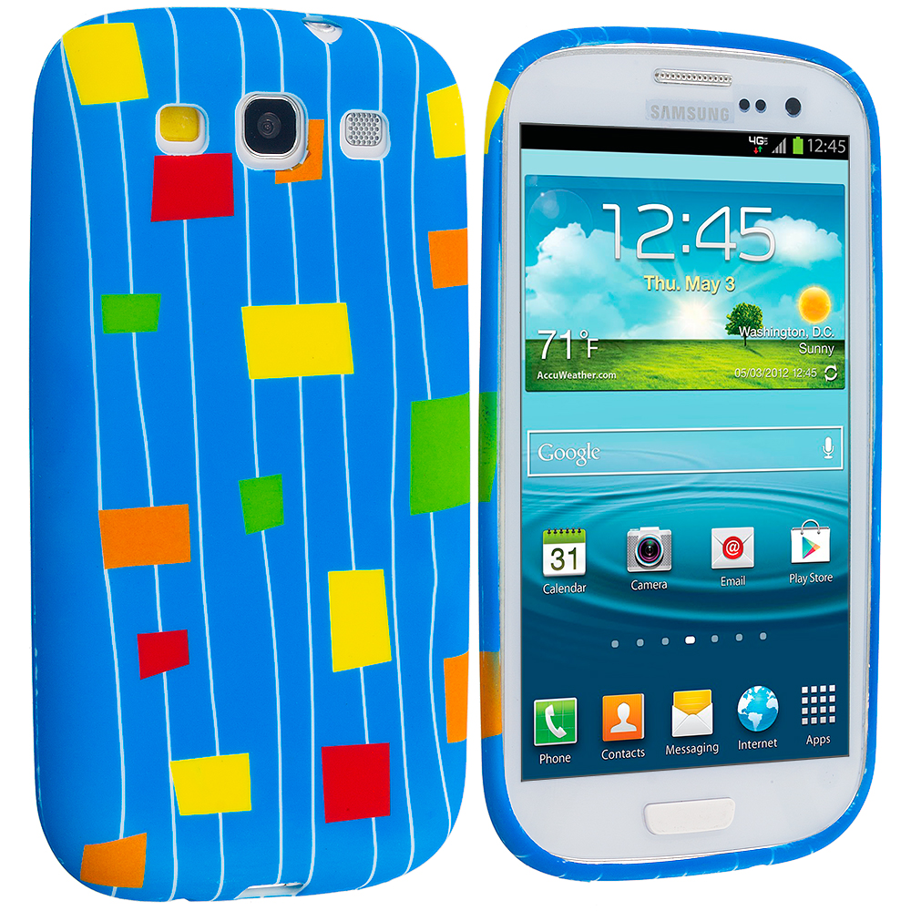 Samsung Galaxy S3 Baby Blue Square TPU Design Soft Case Cover