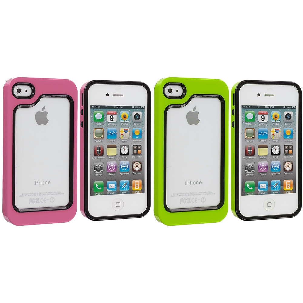 Apple iPhone 4 / 4S 2 in 1 Combo Bundle Pack - Green / Hot Pink Hybrid TPU Bumper Case Cover
