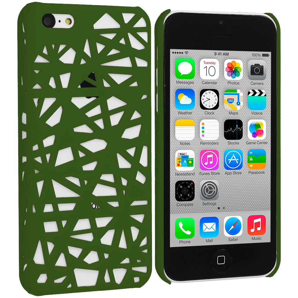 Apple iPhone 5C Green Birds Nest Hard Rubberized Back Cover Case