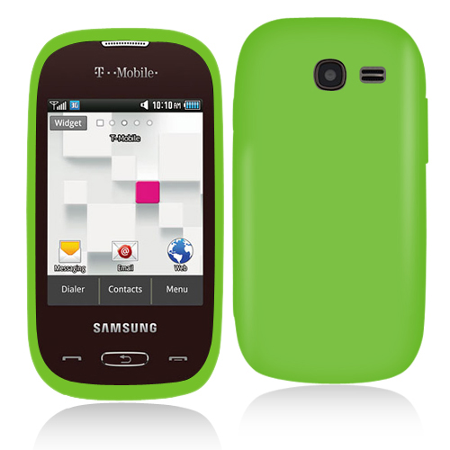 Samsung Gravity Q T289 Neon Green Hard Rubberized Case Cover