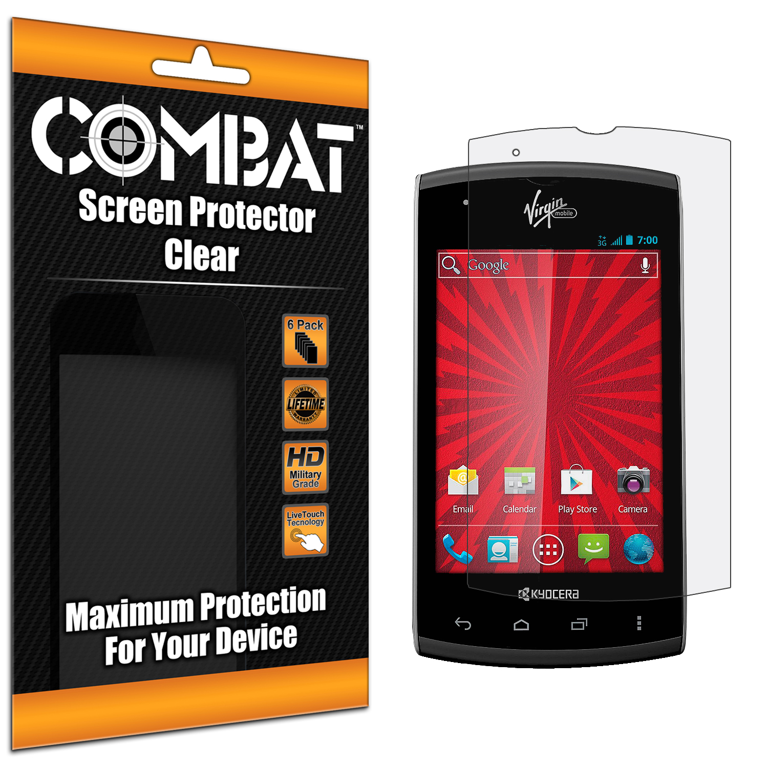 Kyocera Rise Combat 6 Pack HD Clear Screen Protector