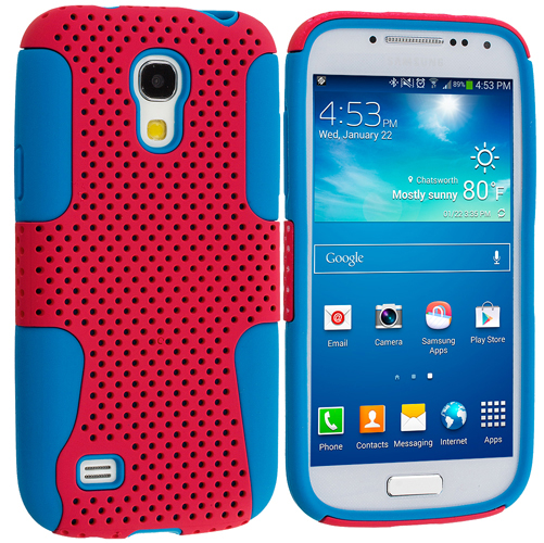 Samsung Galaxy S4 Mini i9190 Baby Blue / Hot Pink Hybrid Mesh Hard/Soft Case Cover