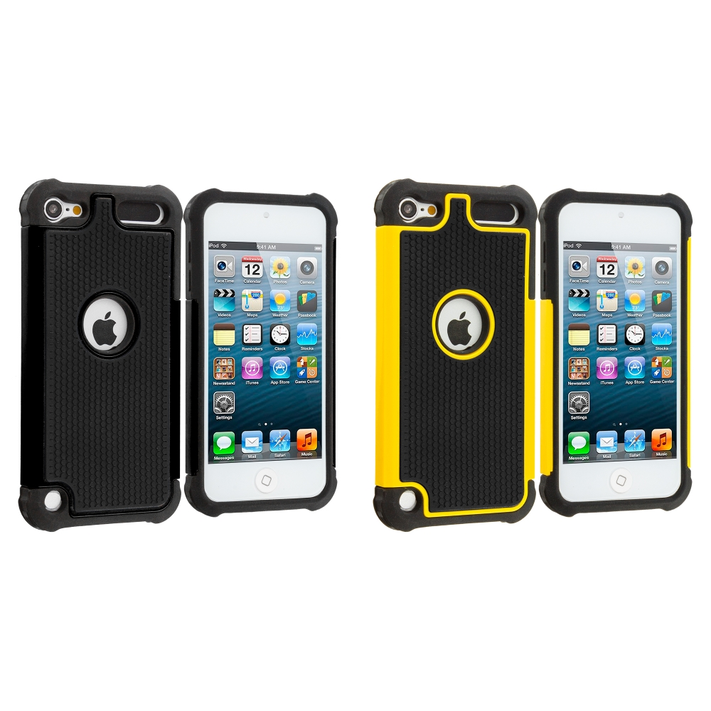 Apple iPod Touch 5th 6th Generation 2 in 1 Combo Bundle Pack - Black / Yellow Hybrid Rugged Hard/Soft Case Cover