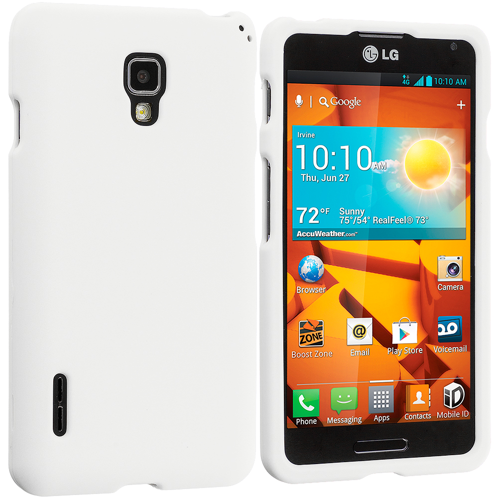 LG Optimus F7 White Hard Rubberized Case Cover