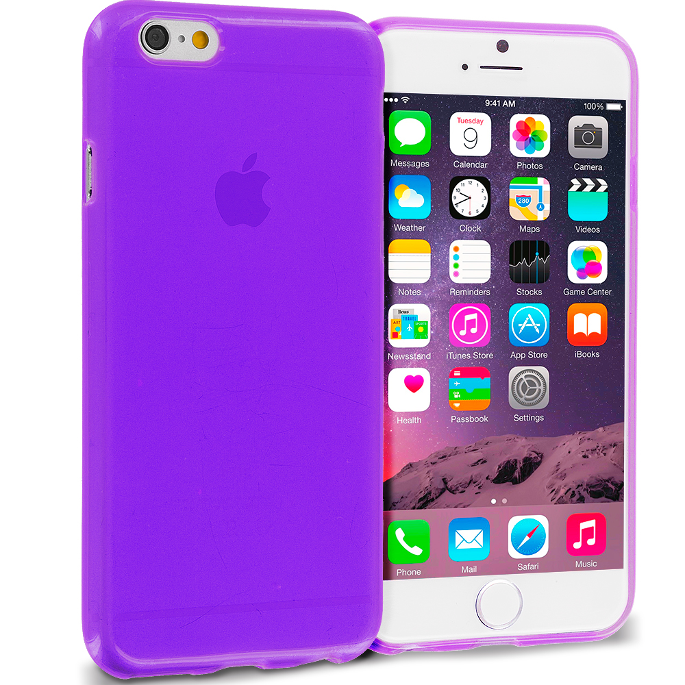 Apple iPhone 6 Plus 6S Plus (5.5) 10 in 1 Combo Bundle Pack - Transparent TPU Rubber Skin Case Cover : Color Purple Transparent