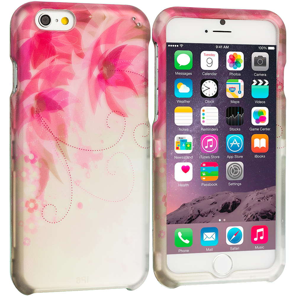 Apple iPhone 6 6S (4.7) Flower with Red Leaf 2D Hard Rubberized Design Case Cover