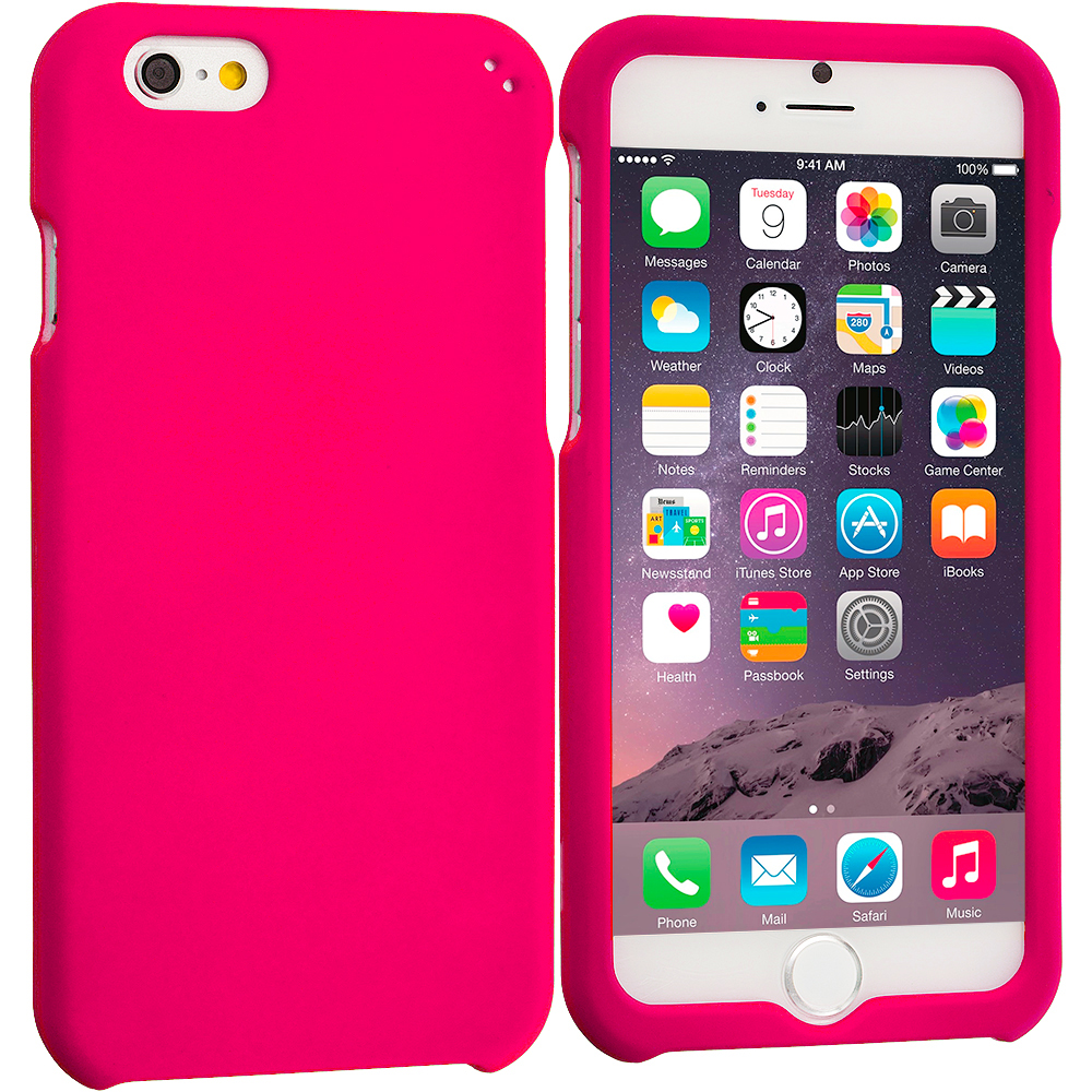 Apple iPhone 6 Plus 6S Plus (5.5) 2 in 1 Combo Bundle Pack - Hard Rubberized Case Cover : Color Hot Pink