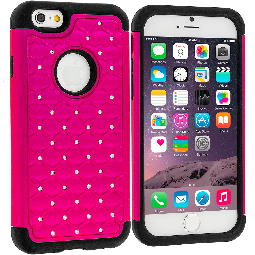 Apple iPhone 6 Plus 6S Plus (5.5) Hot Pink Hard Rubberized Diamond Case Cover
