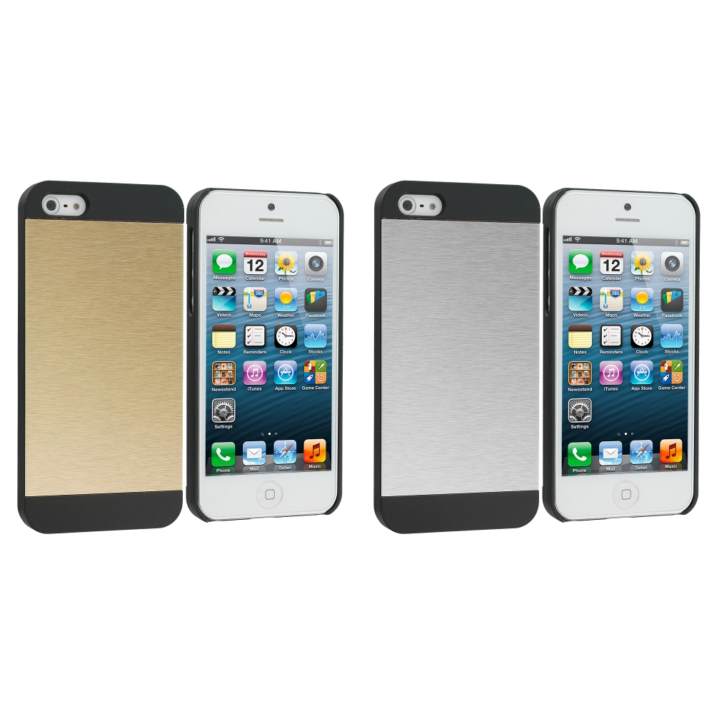 Apple iPhone 5/5S/SE Combo Pack : Gold / Black Hybrid Luxury Aluminum Hard Case Cover
