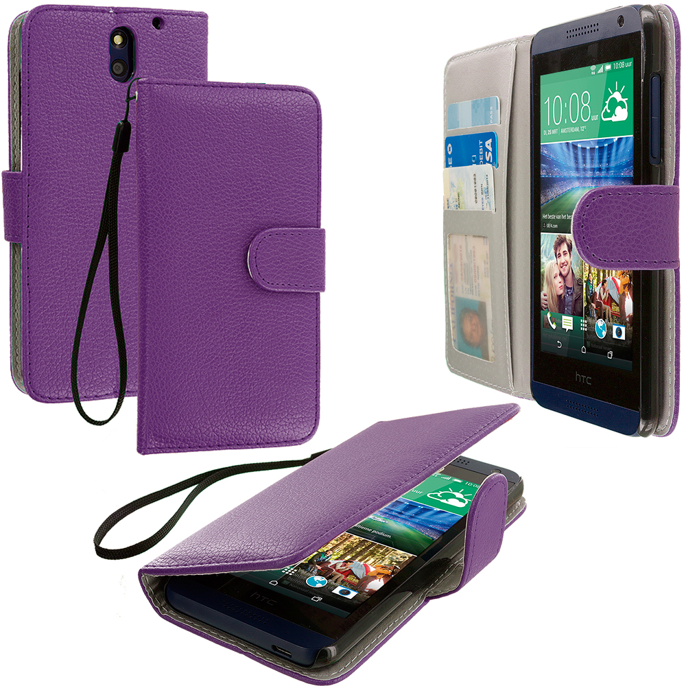 HTC Desire 610 Purple Leather Wallet Pouch Case Cover with Slots