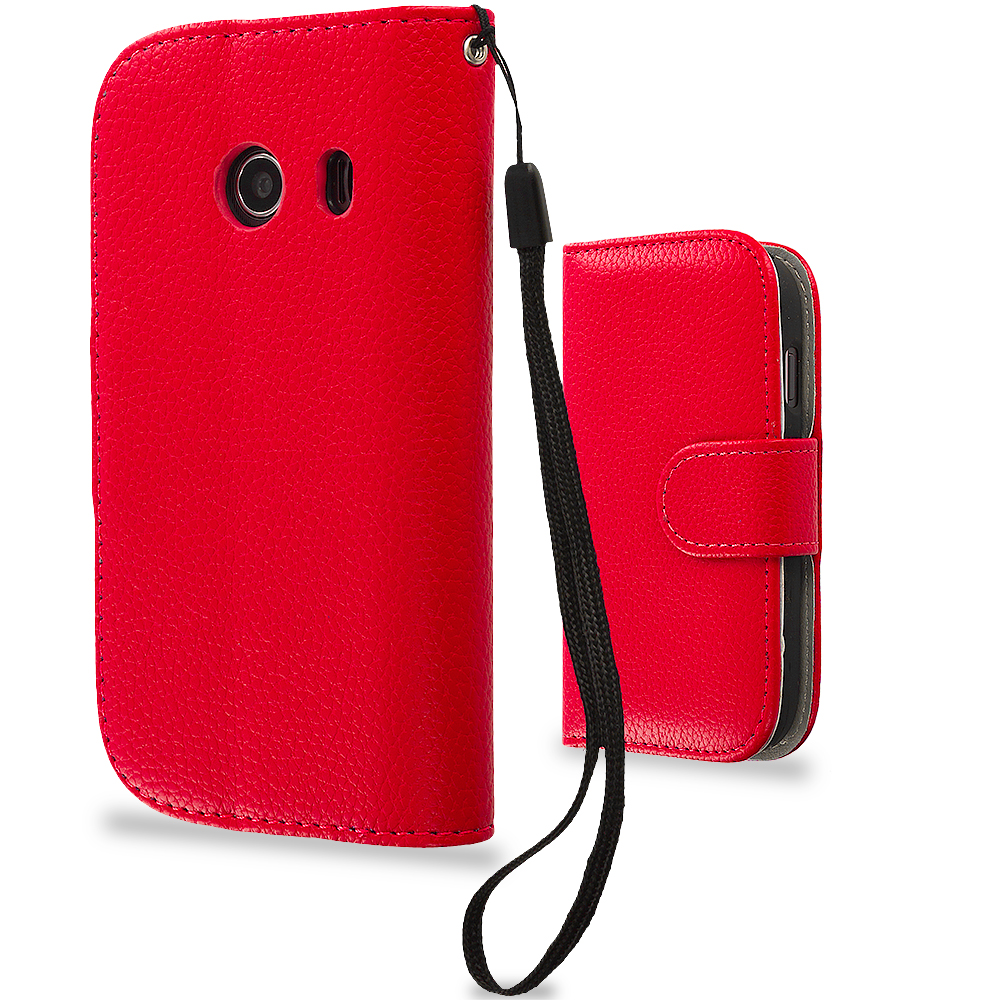 Samsung Galaxy Ace Style S765C Red Leather Wallet Pouch Case Cover with Slots