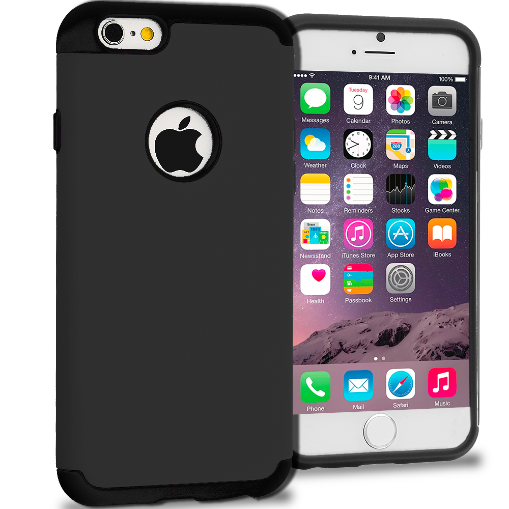 Apple iPhone 6 6S (4.7) 5 in 1 Combo Bundle Pack - Hybrid Slim Hard Soft Rubber Impact Protector Case Cover : Color Black / Black