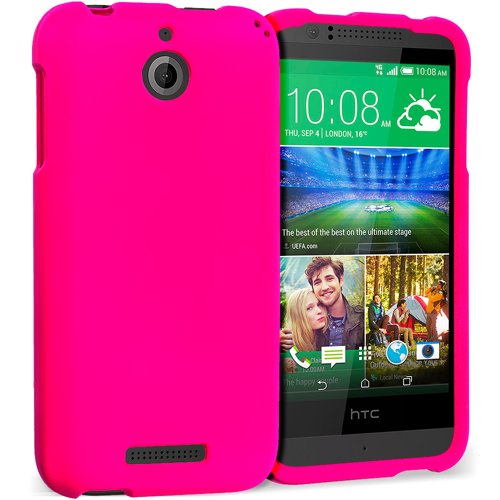 HTC Desire 510 Hot Pink Hard Rubberized Case Cover