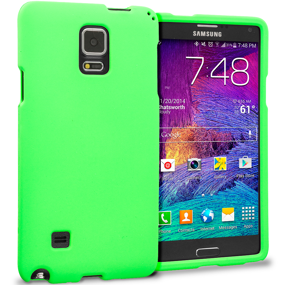 Samsung Galaxy Note 4 Neon Green Hard Rubberized Case Cover