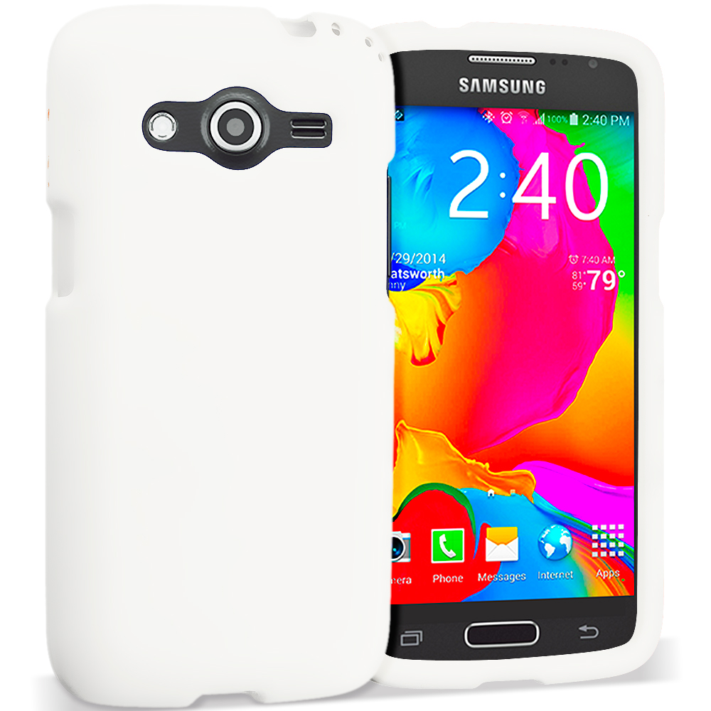 Samsung Galaxy Avant G386 White Hard Rubberized Case Cover