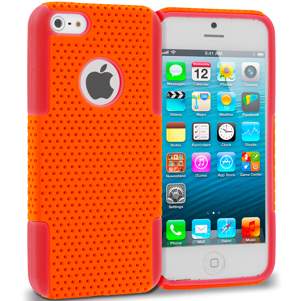 Apple iPhone 5/5S/SE Red / Orange Hybrid Mesh Hard/Soft Case Cover