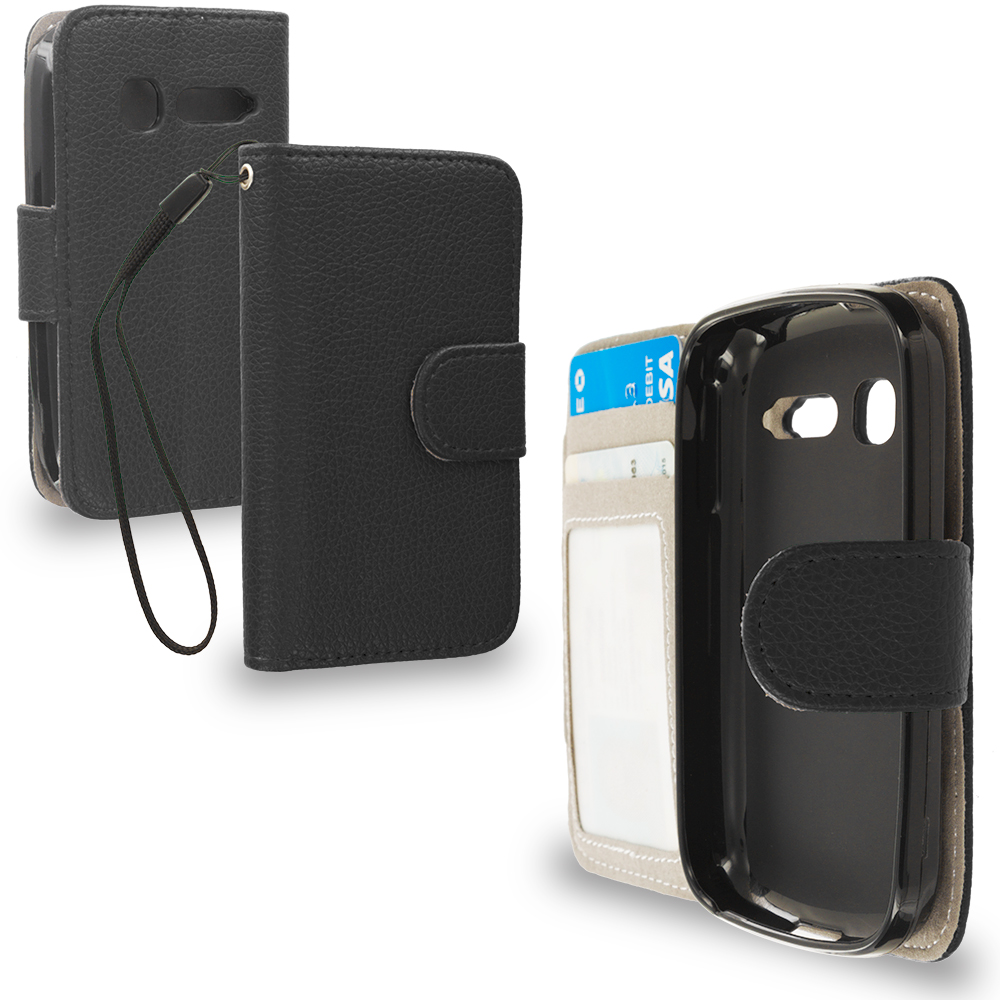 Alcatel One Touch Pop C1 Black Leather Wallet Pouch Case Cover with Slots