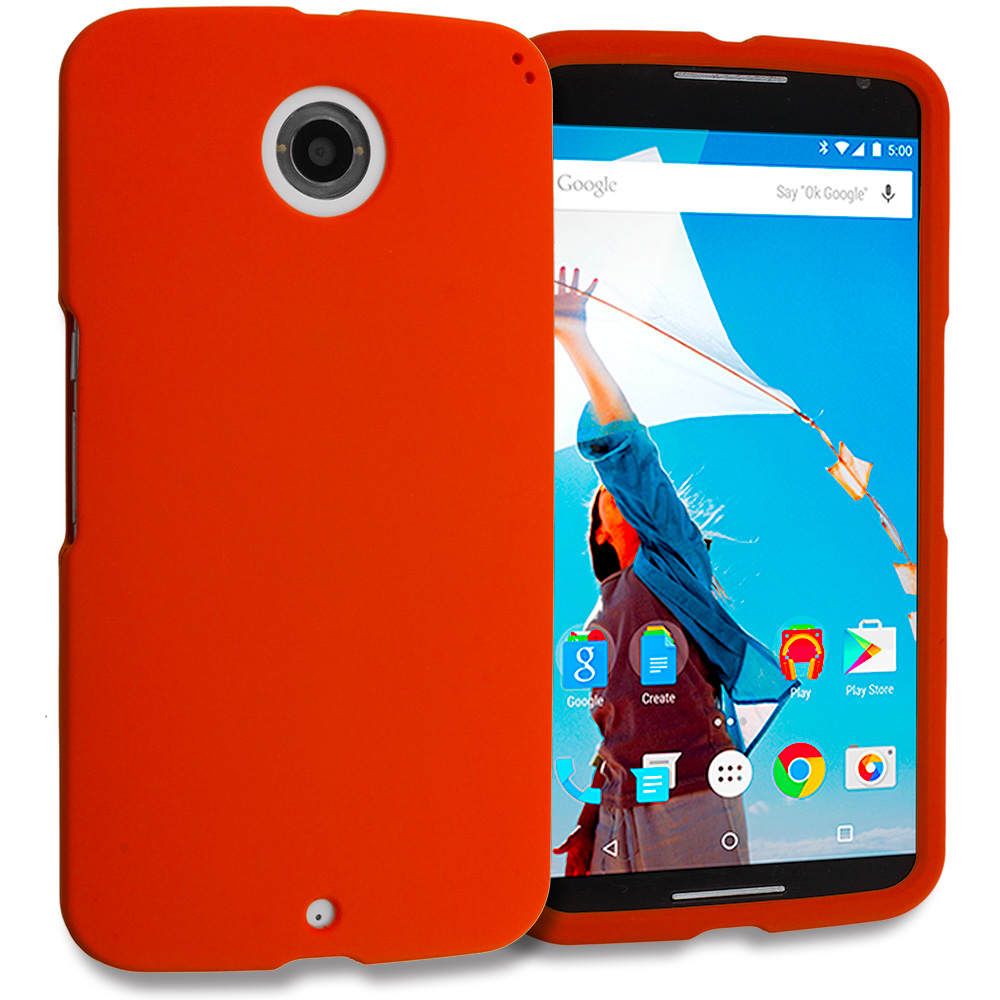 Motorola Google Nexus 6 Orange Hard Rubberized Case Cover