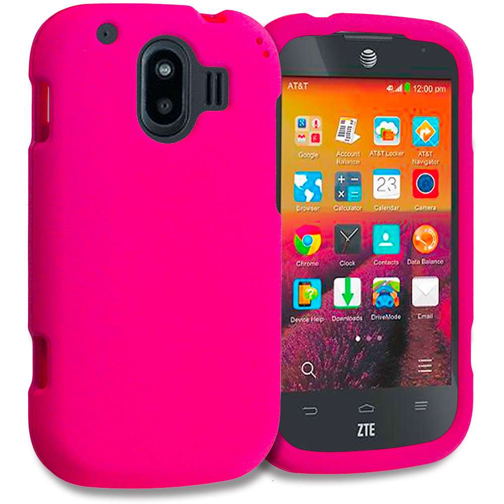 ZTE Compel Hot Pink Hard Rubberized Case Cover