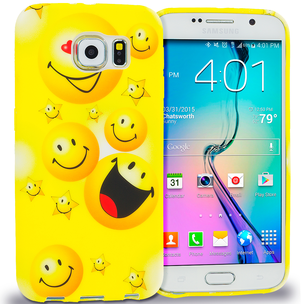 Samsung Galaxy S6 Combo Pack : Zoo TPU Design Soft Rubber Case Cover : Color Smiley Face