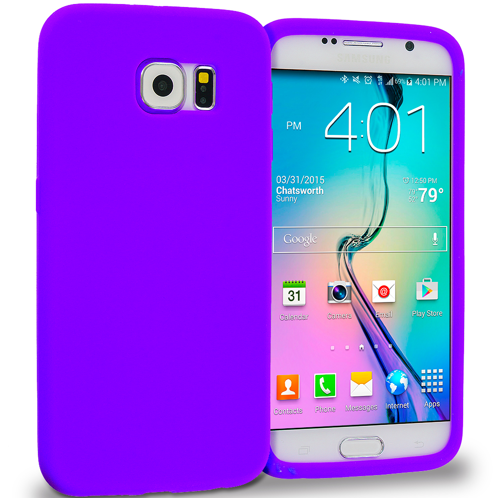 Samsung Galaxy S6 4 in 1 Combo Bundle Pack - Silicone Soft Skin Rubber Case Cover : Color Purple