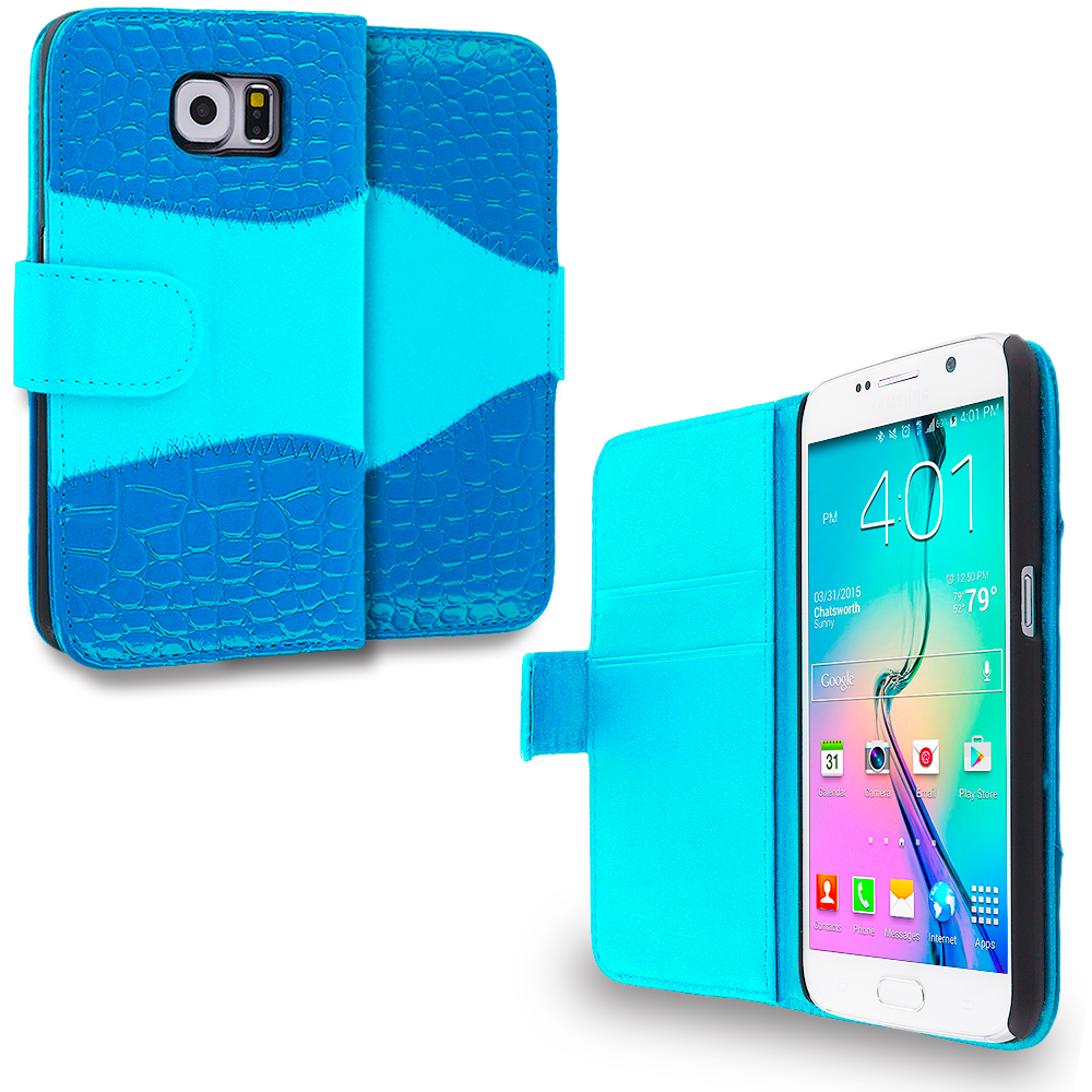 Samsung Galaxy S6 Baby Blue Crocodile Leather Wallet Pouch Case Cover with Slots