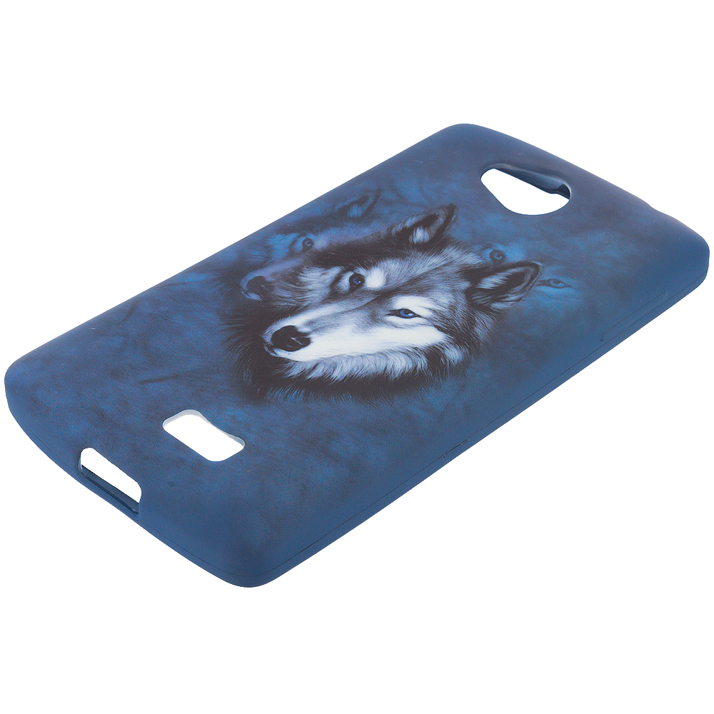 LG Transpyre Tribute F60 Wolf TPU Design Soft Rubber Case Cover