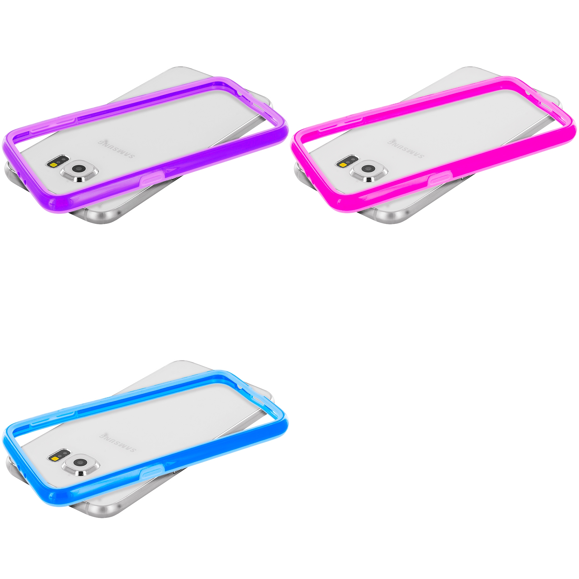Samsung Galaxy S6 Combo Pack : Purple TPU Bumper Frame Case Cover