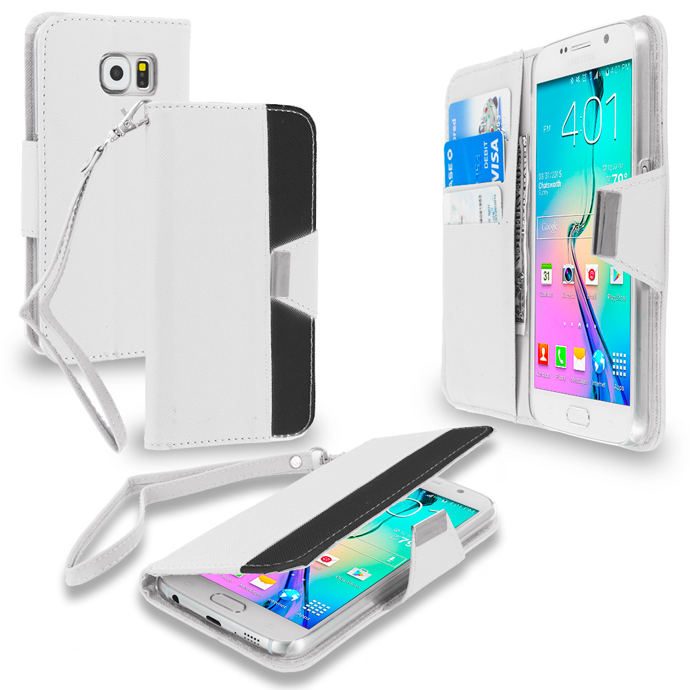 Samsung Galaxy S6 Combo Pack : Black Wallet Magnetic Metal Flap Case Cover With Card Slots : Color White