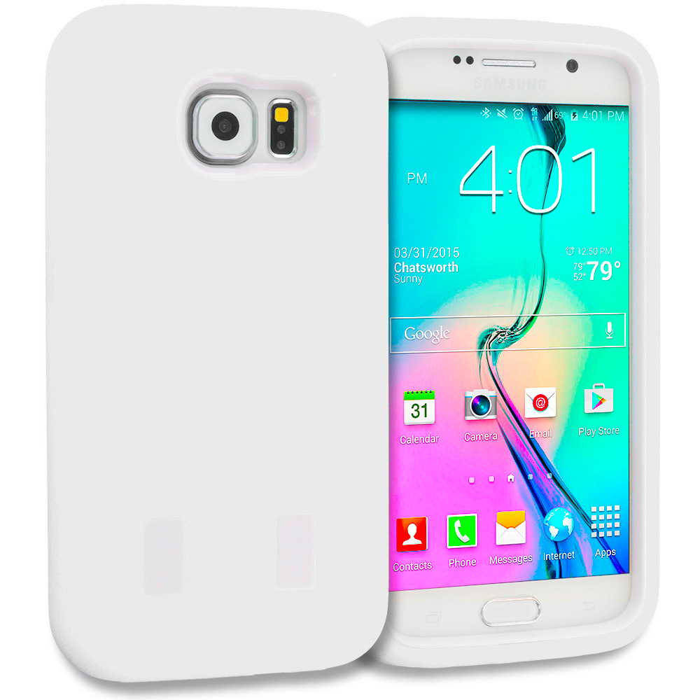 Samsung Galaxy S6 White / White Hybrid Deluxe Hard/Soft Case Cover