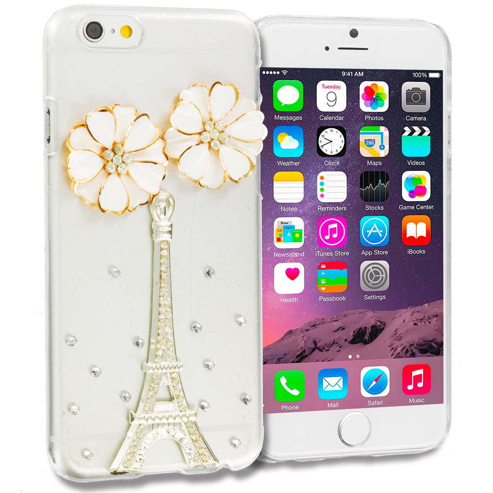 Apple iPhone 6 Plus 6S Plus (5.5) 4 in 1 Combo Bundle Pack - Bling Rhinestone Case Cover : Color Style 6