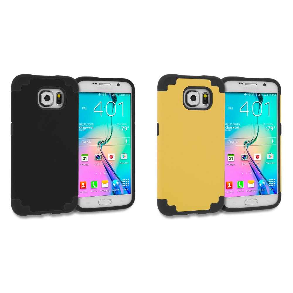 Samsung Galaxy S6 Edge 2 in 1 Combo Bundle Pack - Hybrid Slim Hard Soft Rubber Impact Protector Case Cover