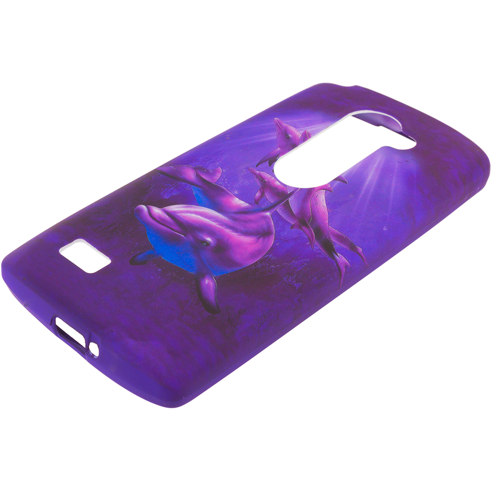 LG Tribute 2 Leon Power Destiny Purple Dolphin TPU Design Soft Rubber Case Cover