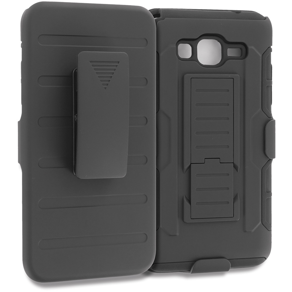 Samsung Galaxy Grand Prime LTE G530 Black Hybrid Rugged Robot Armor Heavy Duty Case Cover with Belt Clip Holster