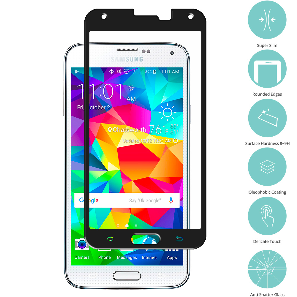 Samsung Galaxy S5 Black Tempered Glass Film Screen Protector Colored