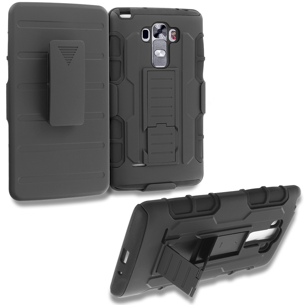 LG G Vista 2 Black Hybrid Rugged Robot Armor Heavy Duty Case Cover with Belt Clip Holster